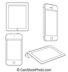 vector, set, artikelen & hulpmiddelen, digitale