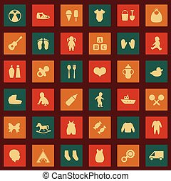 vector set baby icons,