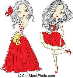 Vector set beautiful fashion girls in red dresses - Set...