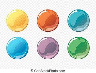 vector, set, bel, spotprent, zeep