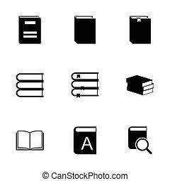 vector, set, black , boek, iconen