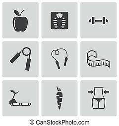 vector, set, black , dieet, iconen