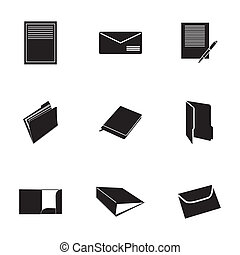 vector, set, black , document, iconen