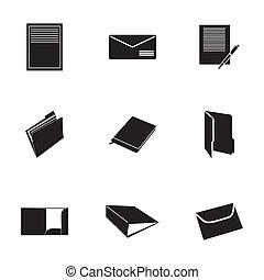 vector, set, black , document, iconen