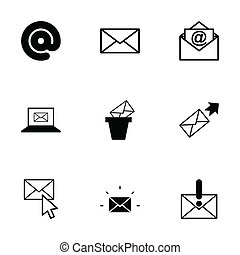 vector, set, black , email, iconen