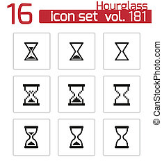vector, set, black , hourglass, iconen