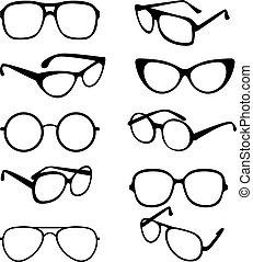 Vector set black illustration of sunglasses frames