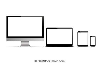 Vector Set Black Monitor Notebook Tablet Smartphone