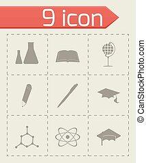vector, set, black , opleiding, iconen