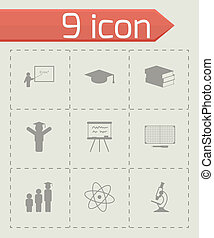 vector, set, black , opleiding, iconen