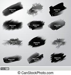Vector set black paint brushes. Artistic strokes.