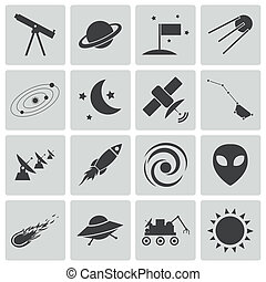vector, set, black , ruimte, iconen