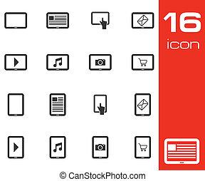 vector, set, black , tablet, iconen