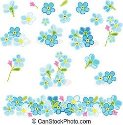 vector, set, bloemen, vergeet-mij-nietje