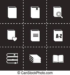 vector, set, boek, iconen