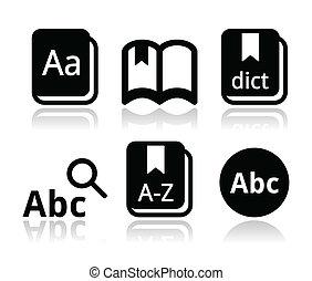 vector, set, boek, woordenboek, iconen