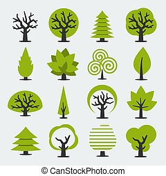 vector, set, bomen