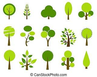 vector, set, bomen, illustratie
