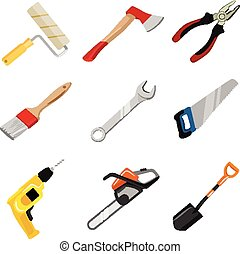 vector, set, bouwsector, gereedschap, pictogram