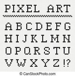 vector, set, brieven, pixel, font.