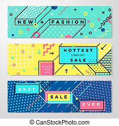 Vector set - bright abstract memphis style banners
