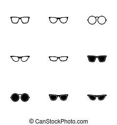 vector, set, bril, pictogram