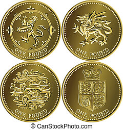 set British money gold coin one pound sterling with the emblems of England, Scotland, Wales, United Kingdom