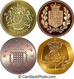 Vector set British money gold coins