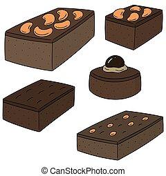vector, set, brownie