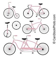 Vector set bundle of pink flat cartoon bicycle