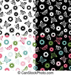 Vector set Butterflies seamless pattern flowers