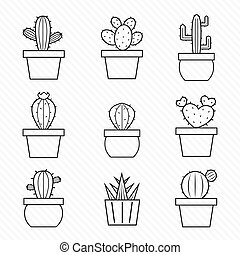 vector, set, cactus, iconen