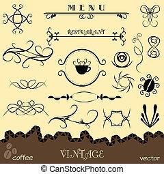 Vector set calligraphic design elements