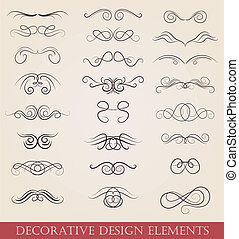 vector set calligraphic design elements retro style