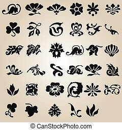 vector set: calligraphic flower design