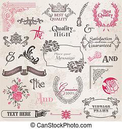 vector, set:, calligraphic, ontwerp onderdelen, en, pagina, versiering, ouderwetse , frame, verzameling, met, bloemen