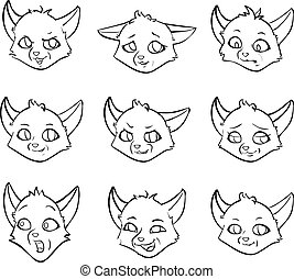Vector set cartoon emotion of fox