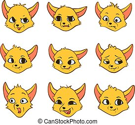 Vector set cartoon emotion of yellow fox