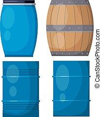 Vector set casks on a white background. Illustration of a wooden and metal blue barrels,