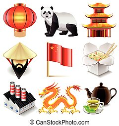 vector, set, china, iconen