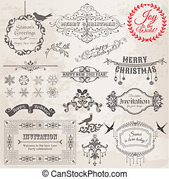 Vector Set: Christmas Calligraphic Design Elements and Page ...