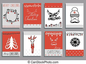 Vector Set Christmas Calligraphic Design Elements