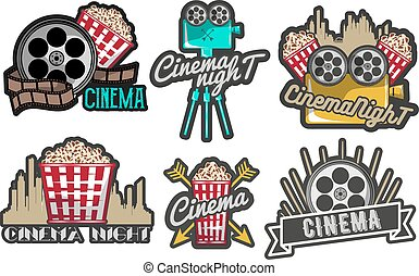 Vector set cinema labels and logos. Isolated illustration in vintage style. Colorful badges, emblems, design elements of movie theater