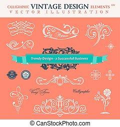 Vector set classic. Ð¡alligraphic design elements book decoratio