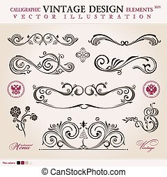 Vector set classic. Calligraphic design elements ornament decor