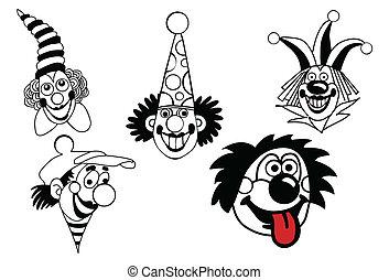 vector, set, clown, op wit, achtergrond
