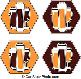 vector set coaster with different beer glasses