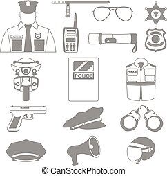Vector set collection icons of police equipment vector illustration