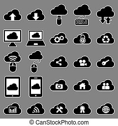 Vector set collection of 25 cloud computing related flat style black icons