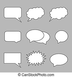 Vector set collection of different high quality blank speech bubbles